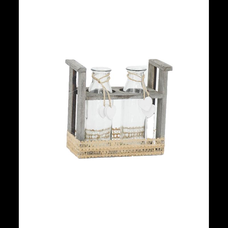Bouteille en verre support bois gris 15,5x8xH16 cm