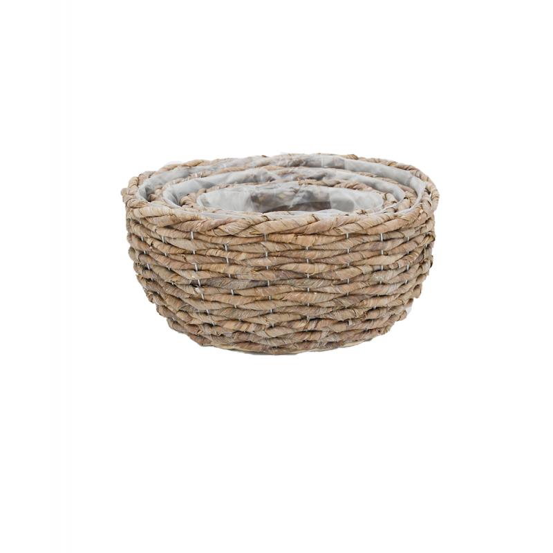 Corbeille osier ronde tressé coloris naturel lot de 3 pièces