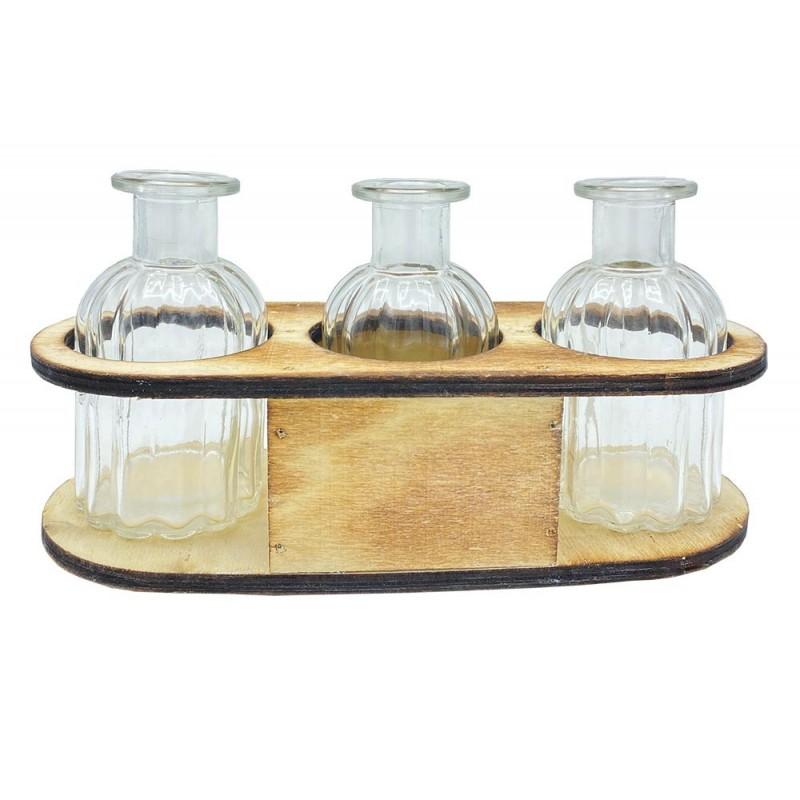 Bouteille en verre dans leur support bois 22,5x9xH12 cm