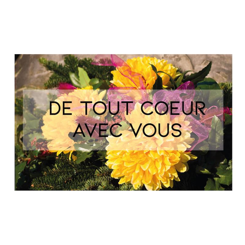 """Carte message """" DE TOUT COEUR AVEC VOUS"""""""