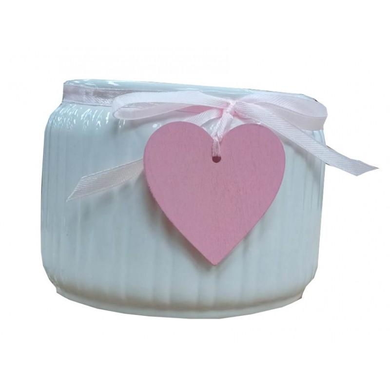 Cache pot strié avec ruban et coeur rose