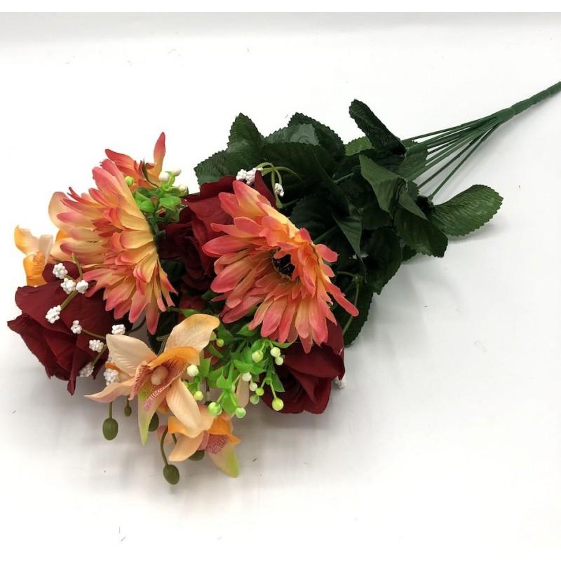 Piquet Rose et Gerbera Irène -Assortiment Rouge, Rose et Orange-