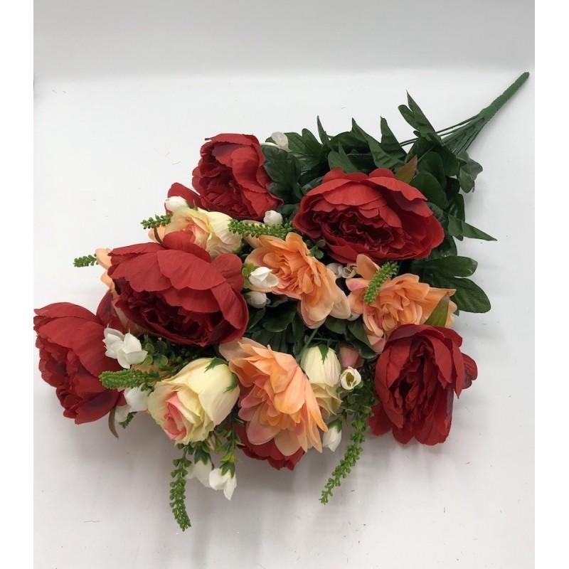 Piquet Rose Pivoine et Dahlia Gigantea -Assortiment Rouge Rose et Crème- 69cm