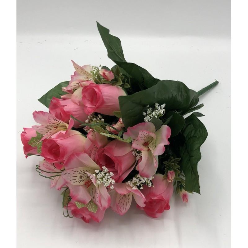 Piquet Rose Amaryllis et Lierre Angèle -Assortiment Rose Crème et Violet- 40cm