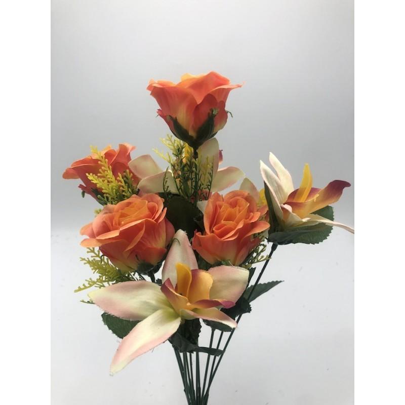 Piquet Rose et Cymbidium Maryse -Assortiment Rose, Rouge et Saumon- 42cm