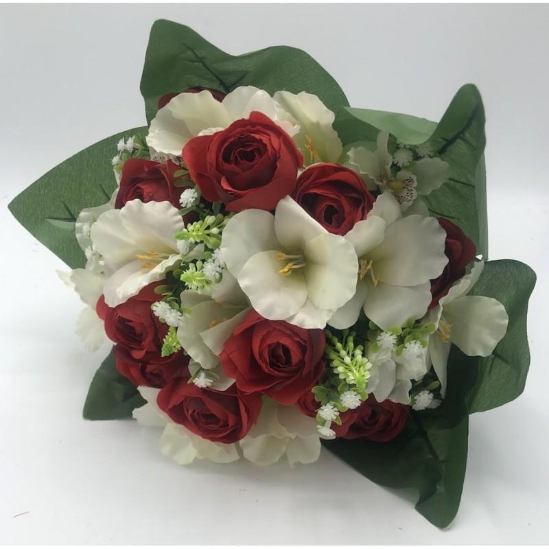 Piquet Renoncule Amaryllis Cymbidium Annette -Assortiment Rouge Rose Orange et Crème- 40cm