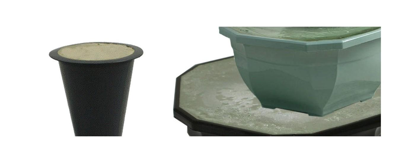 pots et vases lestés pour compositions florales artificielles funéraires